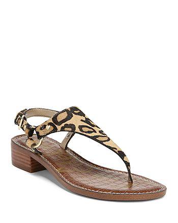 89e11c3c138fe9 Sam Edelman Women s Jude Leopard Print Calf Hair Thong Sandals ...