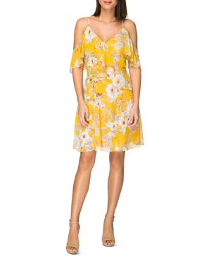 B COLLECTION BY BOBEAU STELLO COLD-SHOULDER FLORAL-PRINT DRESS