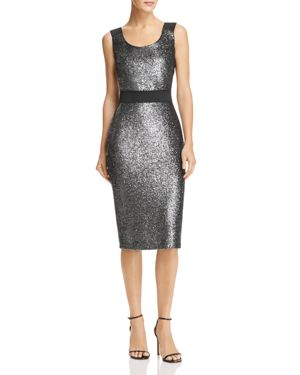 Metallic Sparkling Sheath Dress, Gray