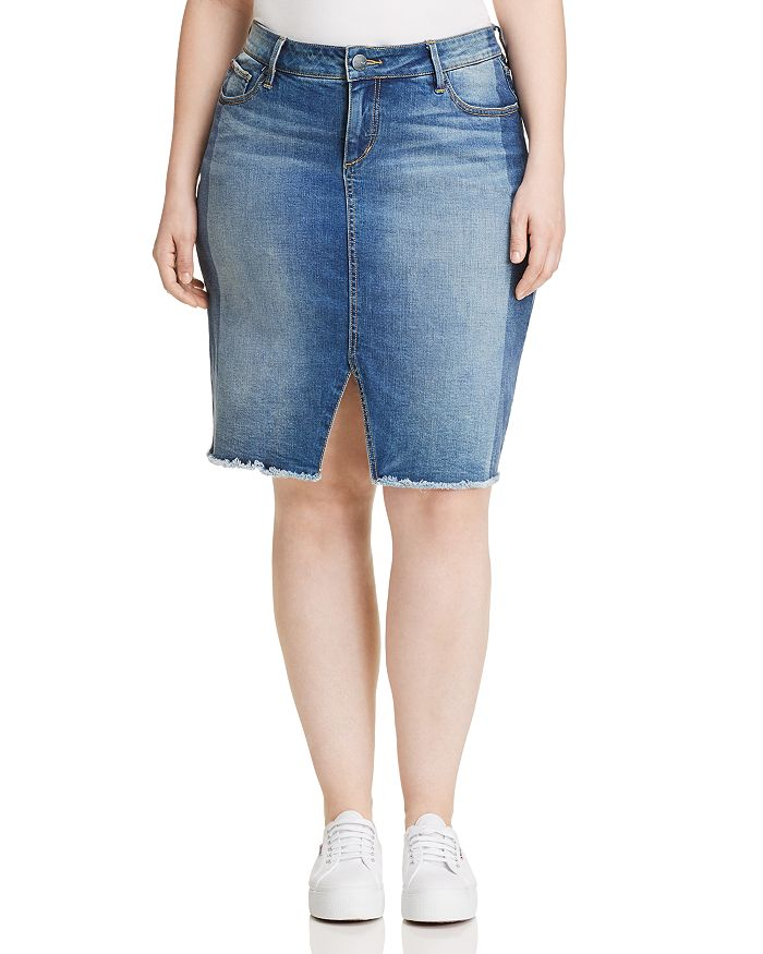 SLINK Jeans Plus - Shadow Mix Denim Pencil Skirt in Gwen
