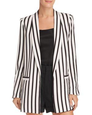 Alice + Olivia Kylie Striped Open-Front Blazer, Monochrome Stripe