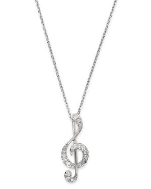 DIAMOND MUSIC NOTE PENDANT NECKLACE IN 14K WHITE GOLD, 0.075 CT. T.W. - 100% EXCLUSIVE