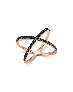 Bloomingdale's - Black Diamond Crossover Ring in 14K Rose Gold, 0.40 ct. t.w. - 100% Exclusive