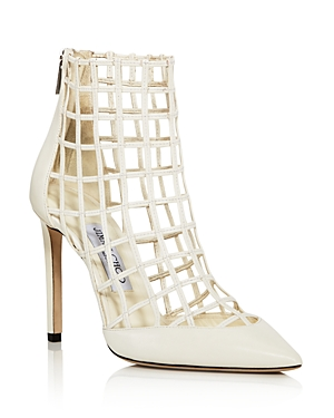 Jimmy Choo Women's Sheldon 100 Caged Leather High-Heel Booties