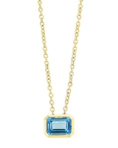 """Bloomingdale's Blue Topaz Emerald-Cut Pendant Necklace in 14K Yellow Gold, 18"""" - 100% Exclusive _0"""