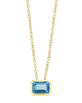 """Bloomingdale's - Blue Topaz Emerald-Cut Pendant Necklace in 14K Yellow Gold, 18"""" - 100% Exclusive"""
