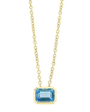 Bloomingdale's Blue Topaz Emerald-Cut Pendant Necklace in 14K Yellow Gold, 18 - 100% Exclusive
