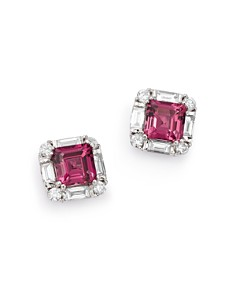 Bloomingdale's - Rhodolite Garnet & Diamond Square Earrings in 14K White Gold - 100% Exclusive