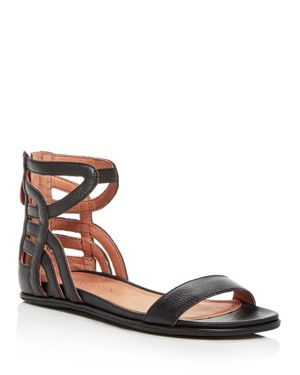 Gentle Souls Women's Larisa Leather Ankle Strap Demi Wedge Sandals