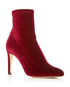 Giuseppe Zanotti - Women's Stretch Glitter Velvet Pointed Toe Booties