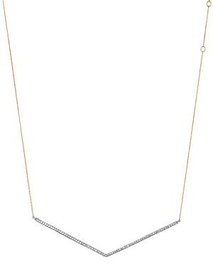 Adina Reyter Sterling Silver & 14K Yellow Gold Pave Diamond V Collar Necklace, 13.5