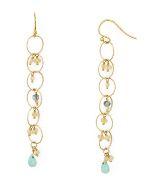 Chain Hoop Drop Earrings With Pearls, Amazonite/Gold