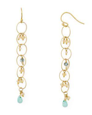 CHAN LUU Chain Hoop Drop Earrings With Pearls in Gold