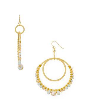 Semiprecious Stone Double Hoop Drop Earrings, Matte Multi Mix