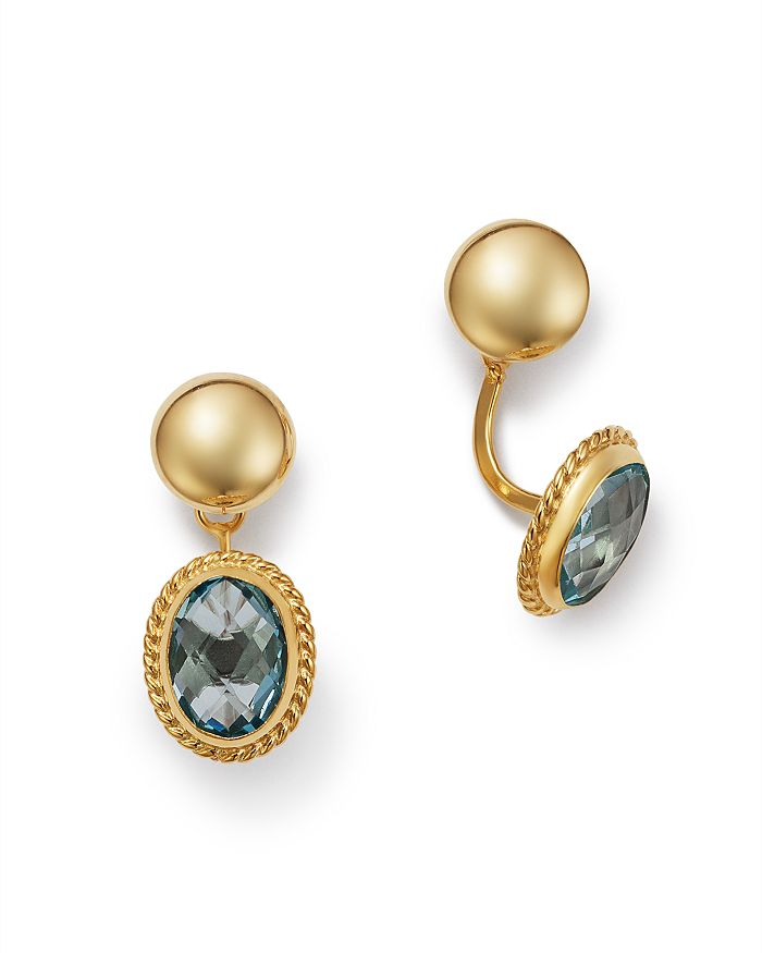 Bloomingdale's - Blue Topaz Oval Drop Ear Jackets in 14K Yellow Gold - 100% Exclusive