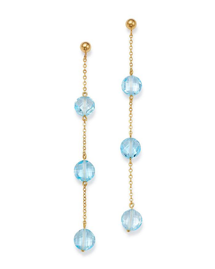 Bloomingdale's - Blue Topaz Three-Stone Drop Earrings in 14K Yellow Gold - 100% Exclusive