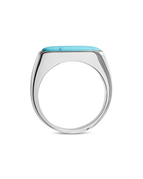 Shinola - Sterling Silver Elongated Turquoise Signet Ring