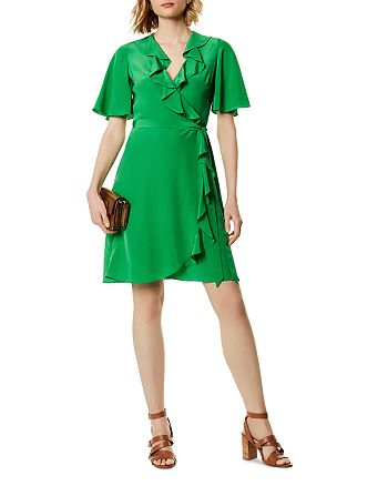 KAREN MILLEN - Ruffled Silk Wrap Dress
