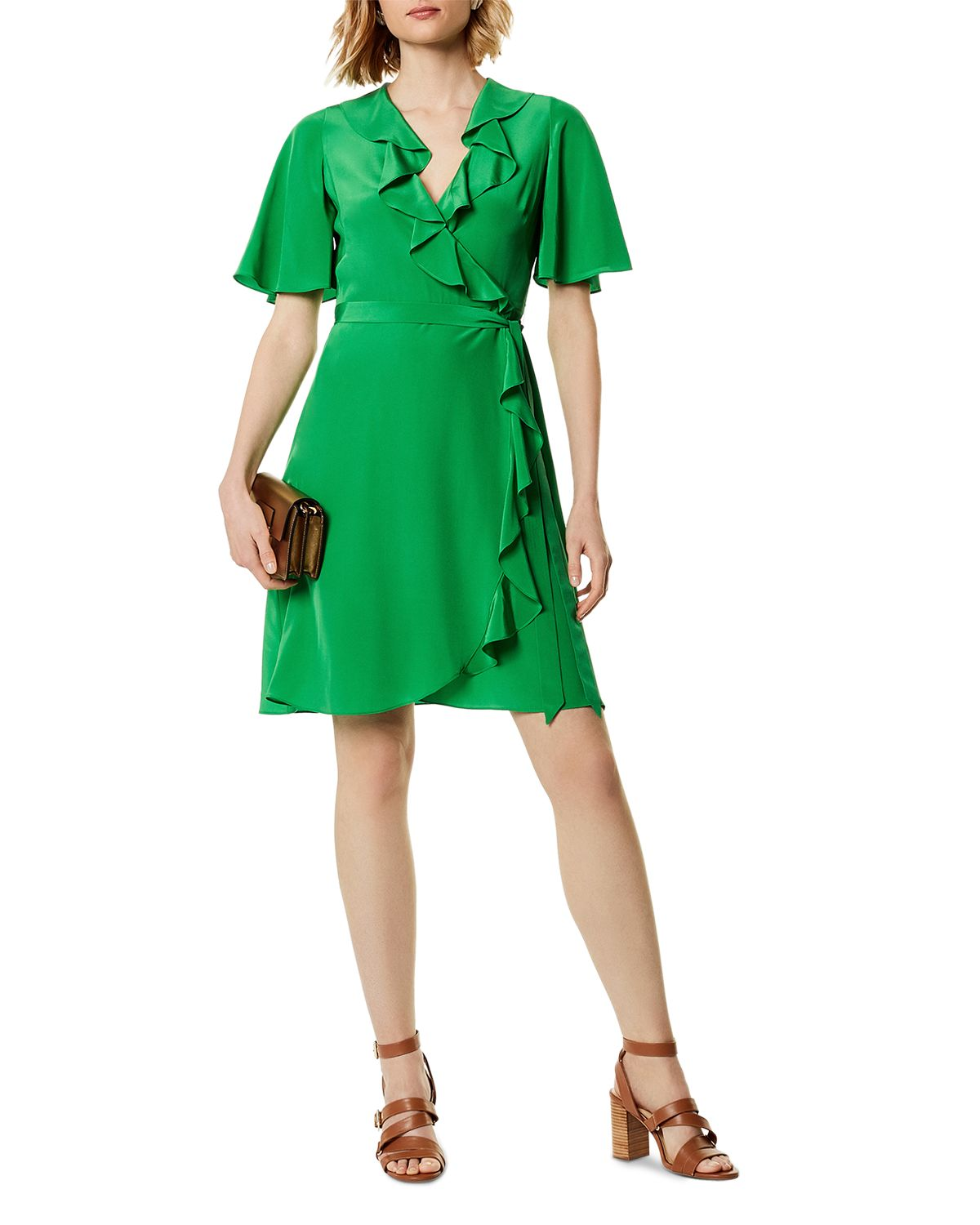 Ruffled Silk Wrap Dress by Karen Millen