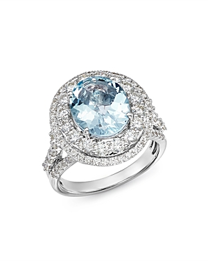 Bloomingdale's Aquamarine & Diamond Statement Ring in 14K White Gold - 100% Exclusive