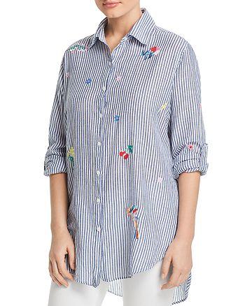 Sundry - Oversized Embroidered Striped Shirt