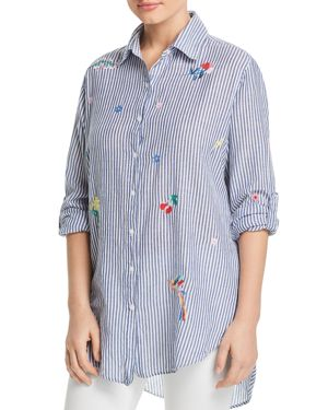 Sundry Oversized Embroidered Striped Shirt