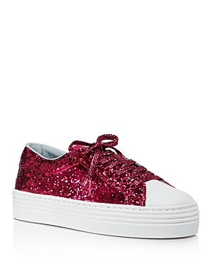 Chiara Ferragni Pink Glittered Leather Platform Sneakers