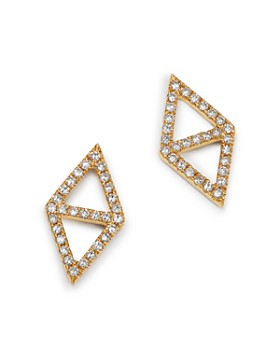 KC Designs - 14K Yellow Gold Double Triangle Diamond Earrings