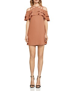 BCBGMAXAZRIA - Chelsey Ruffled Strappy Cold-Shoulder Dress