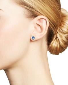 Bloomingdale's - Blue Sapphire Bezel Stud Earrings in 14K White Gold - 100% Exclusive