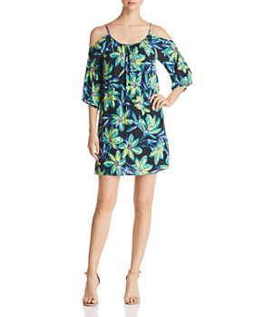 Robert Michaels - Cold-Shoulder Floral-Print Dress