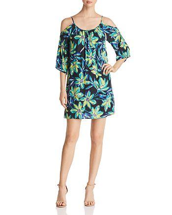 Robert Michaels - Cold-Shoulder Floral-Print Dress