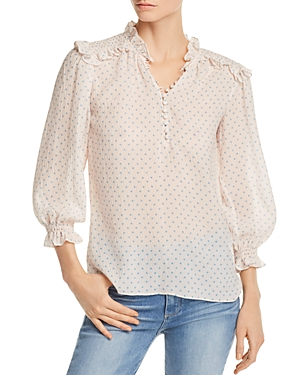 Rebecca Taylor Ruffle-Trimmed Dot-Print Textured Blouse