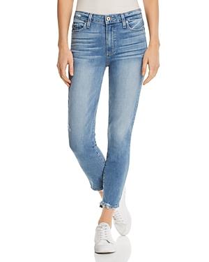 a7a6643e8e191 Paige Hoxton Transcend Vintage High Waist Crop Skinny Jeans In Atterbury W   Torn Back Hem