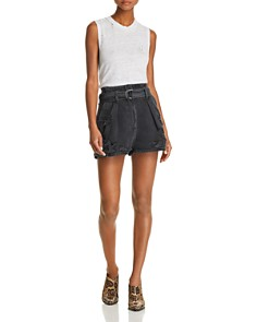 IRO.JEANS - Rosa Destroyed Denim Shorts in Black Washed Gray
