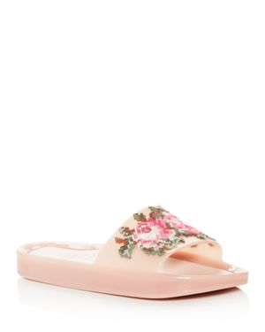 WOMEN'S FLORAL POOL SLIDE SANDALS