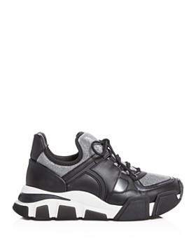 Salvatore Ferragamo - Women's Cimbra Glitter & Leather Lace Up Sneakers