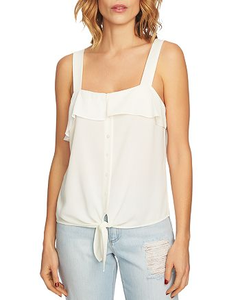 1.STATE - Ruffle-Trim Tie-Front Top