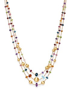 Marco Bicego - 18K Yellow Gold Africa Color Multi Gemstone Three-Strand Necklace, 16""