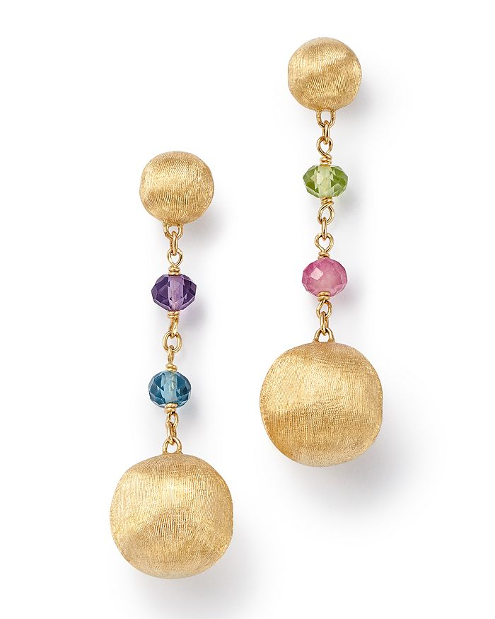 Marco Bicego - 18K Yellow Gold Africa Color Multi Gemstone Drop Earrings - 100% Exclusive