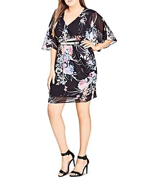 City Chic Plus Flourish Floral Faux-Wrap Dress