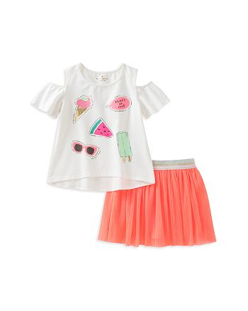 kate spade new york - Girls' So Cool Cold-Shoulder Tee & Shimmer Skirt Set - Little Kid