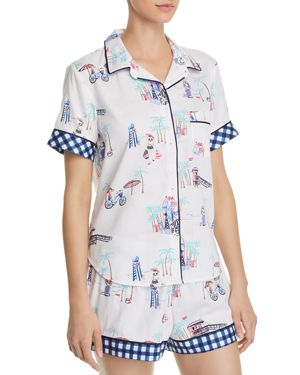 JANE & BLEECKER NEW YORK WOVEN SHORT PJ SET
