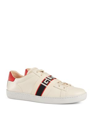 Ace Jacquard-Trimmed Logo-Embossed Leather Sneakers, White Leather