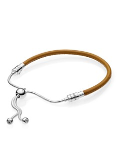 PANDORA Sterling Silver & Leather Tan Slider Bracelet - Bloomingdale's_0