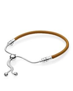 PANDORA - Sterling Silver & Leather Tan Slider Bracelet