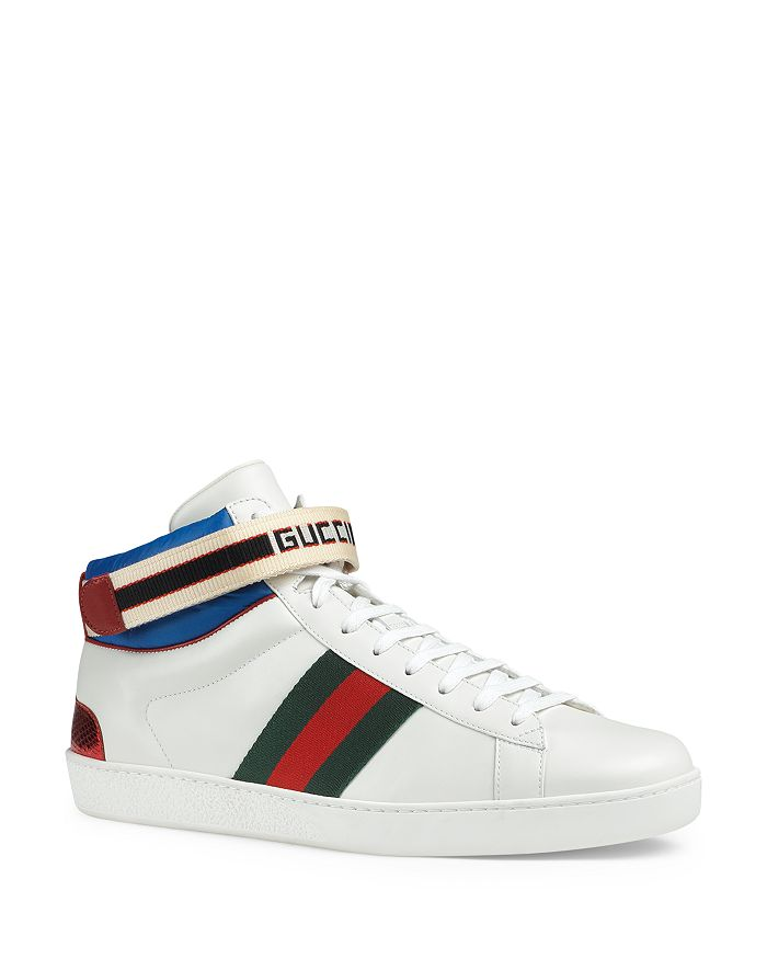 ae31e00a09f Gucci - Men s Stripe Leather High-Top Sneakers
