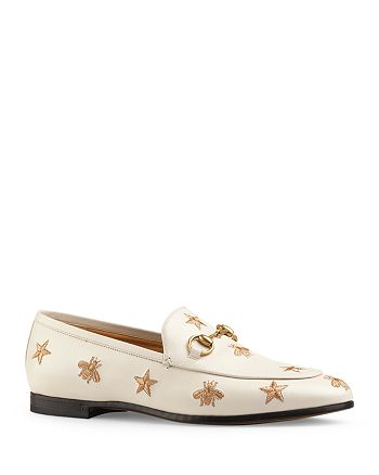 Gucci - Women's Jordaan Embroidered Leather Loafers