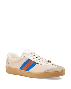 Gucci - Women's Leather & Suede Lace Up Sneakers