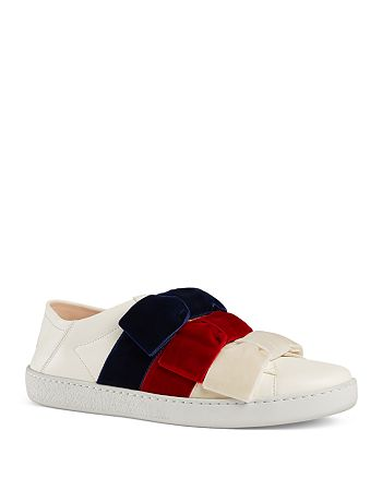 9640bf917 Gucci Women's New Ace Leather & Velvet Bow Slip-On Sneakers ...